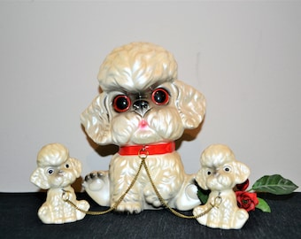 Vintage Pearl White Poodle Family of Three