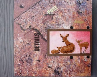 Deer and fawns embroidered picture