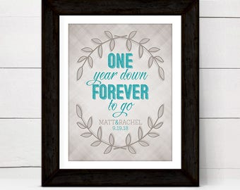 1st anniversary gift for women wife her paper, personalized wall art print, one year down