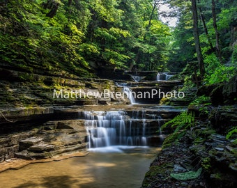 Canvas Photo Art, Forest and Stream Waterfalls