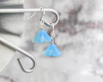 sterling silver hook flower blossom dangle blue earrings light blue jewelry summer opal earrings  пя56