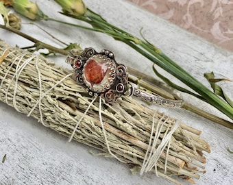 Real Boronia Heather Flower Resin Boho Botanical Sterling Silver Latch Cuff Bracelet with Garnet OOAK