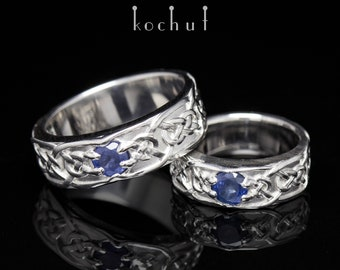 "Silver wedding rings, sapphire ring, silver sapphire ring. Sapphire ring set ""The brave heart"" from Kochut wedding collection."