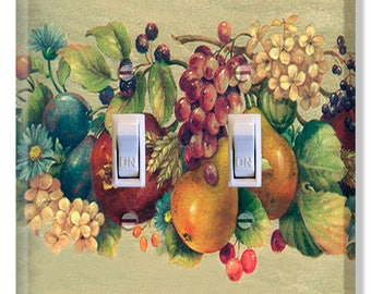Fruit Grapes Pears Apples Light Switch Plate Cover Kitchen Decor