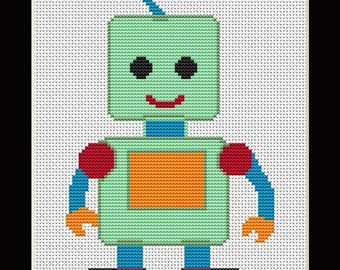 Green Happy Robot Counted Cross Stitch Pattern in PDF for Instant Download