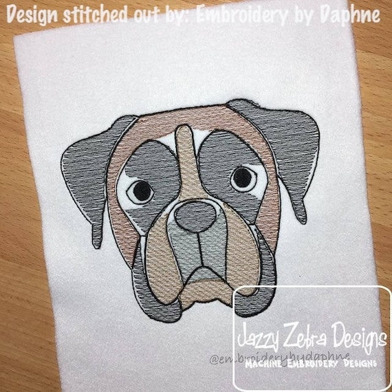 Boxer face sketch embroidery design - Boxer sketch embroidery design - dog sketch embroidery design - dog embroidery design - boxer