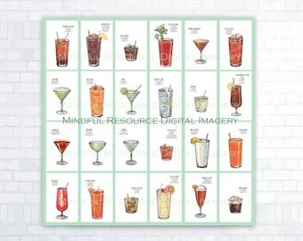 Cocktail Retro Art bunten Drinks & Rezepte Jahrgang druckbare Grafik 24 digitale Download klassische Cocktail Party-Einladungen Tisch Karten