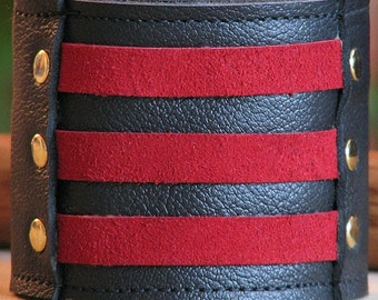 Leather Wrist Wallet bracelet Cuff for a Man or Woman with - On-the-Go - Militant Band Leader Wristband - Red Suede - Made to Order