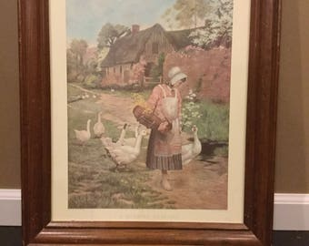 Vintage art  1800's print. A Morning Greeting . Engraving by S. Arlent Edwards of painting by G Hillyard Swinstead .