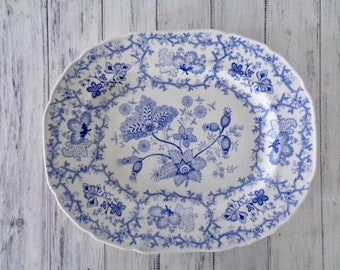 Antique Blue and White Platter, Thomas Dimmock Staffordshire Stone Ware Coral Borders Pattern, Circa 1828 to 1859, Transferware Platter