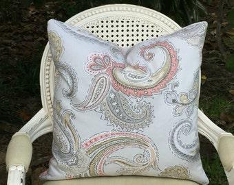Linen Pillow Cover/ Robert Allen Global Paisley Blush/ 20x20 Accent Pillow/ Decorative Pillow/ Toss Pillow Designer Pillow