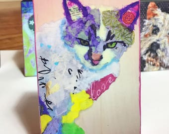 """Pop Art Cat Collectible """"Mama's Love"""" Giclee Mini Block Print 3x5 Rectangular Torn Paper Art by Robin Panzer Holiday Gift or Stocking Stuffe"""