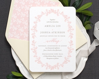 Vintage Wedding Invitation / 'Vintage Wreath' Botanical Garden Wedding Invite / Blush Pink Grey Gray Taupe / Or Custom Colors / ONE SAMPLE