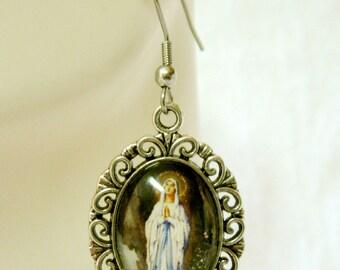 Our Lady of Lourdes glass earrings - AP07-137