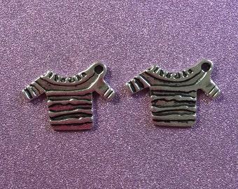 2 Tibetan Antique Silvertone Jumper Charms