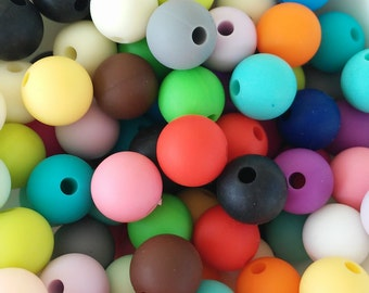 10mm Silicone Beaded Color beads-Silicone Beads 10mm assorted colors-lactating collars-teethers-Silicone beads