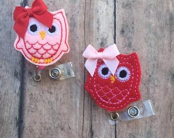 Owl Badge Reel - Valentines Day badge clip - Retractable Badge reel - Valentines Day - Owl - Nurses badge reel - Badge reel - Badge clip