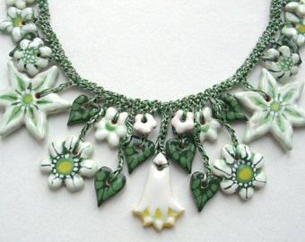 White and green necklace hand-painted Exclusive Gift for her Necklace with floral motifs Ceramic jewelry Artistic jewelry White flowers
