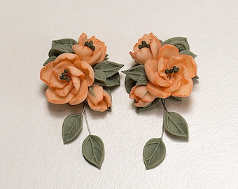 Peony flowers earrings. Polymer clay floral jewelry. Peach earrings. Cottage Chic Earrings. Salmon Pink peony earrings Peach flowers jewelry