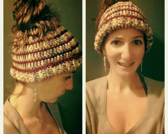 Messy Bun Hat with PonyTail Opening