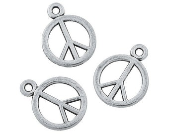 Peace Charms, 13mm x 18mm, pack of 12 by Homestead Crafter