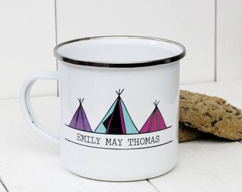 Personalised Three Tipi Tents Enamel Mug