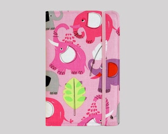 Kindle Cover Hardcover, Kindle Case, eReader, Kobo, Kindle Voyage, Kindle Fire HD 6 7, Kindle Paperwhite, Nook GlowLight Pink Elephants