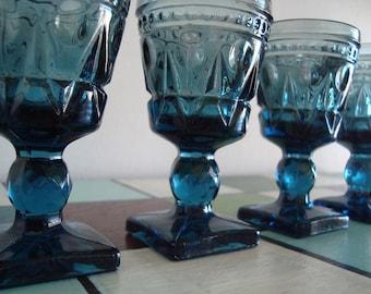 Vintage Indiana Glass Company - Park Lane Smokey Blue Aperitif Cordial Liqueur Shot Glasses - Set of 4