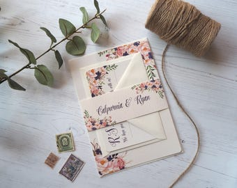 Floral Dream Wedding Invitation with matching RSVP - Sample