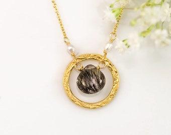 Tiny Black Quartz Pendant Necklace, Tourmalated Quartz, Freshwater Pearl Necklace, Hammered Pendant Necklace, Keepsake Gift for Her, Unique