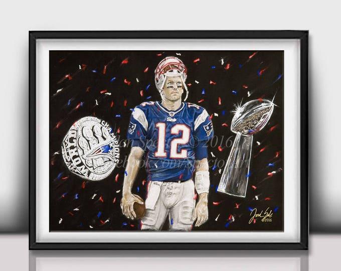 "Tom Brady ""5 rings"" open edition art print - 16x20 inches"