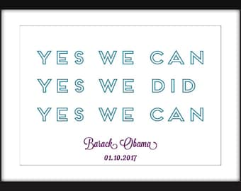 """Barack Obama """"Yes We Can"""" Quote Unframed Print"""