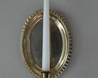 Vintage Brass Wall Sconce Candlestick Holder - unique; vintage decor; vintage brass; wall decor