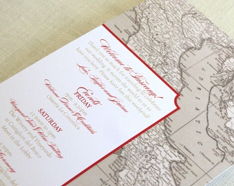 Italy Wedding Itinerary Card - Welcome Bag Card - Tuscany Florence Italian Map - Destination Travel Events Card - Custom Colors