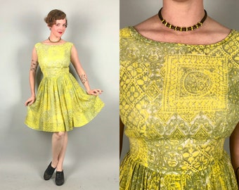 Vintage 1950s Dress | 50s Yellow & Green Chartreuse Sleeveless Summer Cotton Fit and Flare Day Dress with Rococo Floral Print | Medium Large