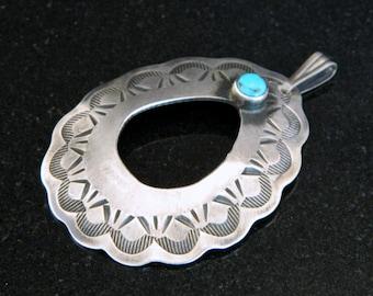 Native American Santo Domingo Turquoise Sterling Silver Handmade Pendant - Chimney Butte SALE