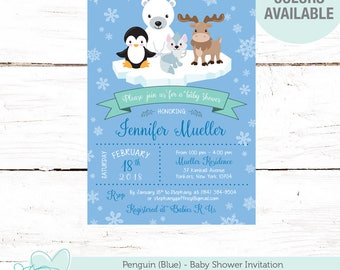 Penguin Baby Shower Invitation Printable Blue, Boy, Winter Wonderland, Snowflakes, Animals, Polar Bear, Moose, Baby It's Cold Outside, 5P