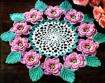 Rose Doily Irish Crochet PDF pattern 1957