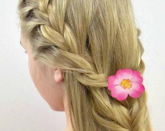 Pink Wild Rose Hair Clip