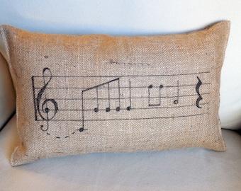 music notes hand painted lumbar pillow