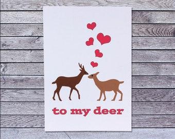 Deer Love Card / Doe Buck / Anniversary