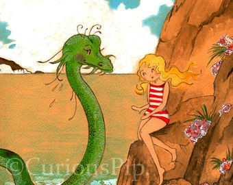 Pardon me but I've not met a Sea Serpent before 10 x 8 Art Print