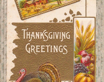 Vintage Thanksgiving Postcard With Turkey Scene Harvest Goods UNUSED POSTCARD