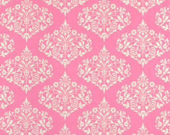 Amy Butler Midwest Modern Fabric, Park Fountains Fuchsia Pink Damask Fabric, 1yd OOP Rare designer quilting fabric, patterned cotton fabric