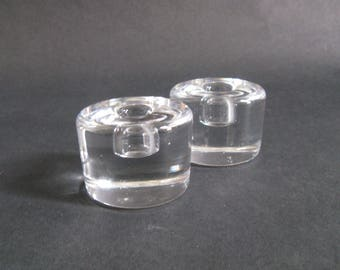 Pair Lena Bergstrom Puck Candle Holders - Orrefors, Sweden 1970s