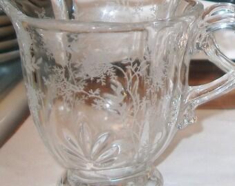 Antique Vintage Fostoria Chintz Cream & Sugar Bowl, Etched Pattern, Elegant Glass