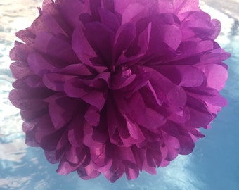 PLUM / 1 tissue paper pom pom // baby shower / wedding / birthday / bridal shower / nursery decor / anniversary / photo prop / DIY