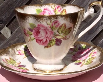 Pretty in Pink- Richly Gilded Royal Standard Teacup and Saucer