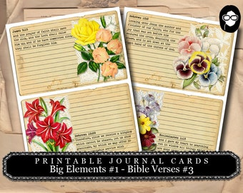 Printable Verses - Big Elements #1 - Bible Verses #3 - 2  Page Instant Download - bible verses diy, prayer journaling, scripture printable