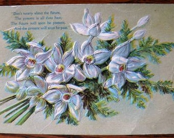 vintage POSTCARDS ... Lily FLORAL Dont WORRY poem front stamped 1910  ...